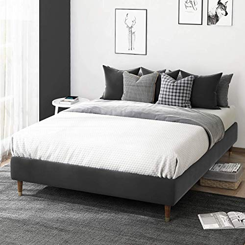 Allewie Grey Velvet Upholstered Queen Size Platform Bed Frame, 13 Inch Mattress Foundation with Wood Slat Support, No Box Spring Needed, Quick and Easy Assembly