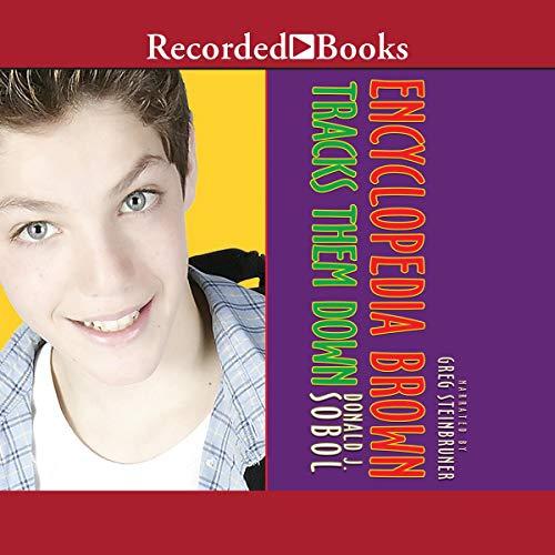 Encyclopedia Brown Tracks Them Down audiobook cover art