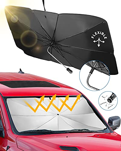 JoyTutus Car Sun Shade for Windshield, Fit For SUV, The 360° Rotation Bendable Shaft Foldable Car Sunshade Umbrella Sunshade Cover UV Block, Easy to Store and Use, 56''x 31''