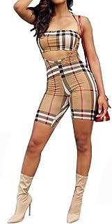 FSSE Women Jumpsuit Romper Sexy 2 Piece Off Shoulder Plaid Print Club Outfits Tracksuits