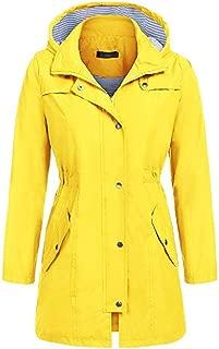 neveraway Womens Mid-Long Jackets Hoode Waterproof Drawstring Waist Outwear Trench
