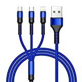 ZKAPOR 3 en 1 Multi Cable de Carga, Nylon Multi USB Cargador Cable Múltiples Micro USB Tipo C Compatible con Samsung Galaxy S10/S9/S8/S7/S6, Huawei P30/P20, Xiaomi Redmi Note 7/Mi A3/A2/A1