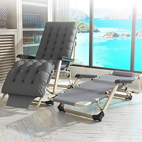 YAOHONG Colchonetas, sillas portátiles, Cojines, Patio Interior y Exterior terraza en el jardín, sillas Plegables de Cubierta Cómodo sillón reclinable (Color : Grey)