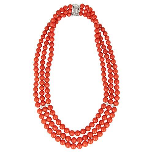 Gioiello Italiano - Collana in corallo rosso di Torre del Greco, oro bianco 18kt e diamanti, da donna, lunghezza 43cm