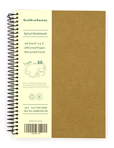 GoldenSunny Recycled Cover Wirebound Notebook, 120 Lined Papers A5 Size Spiral Notebook