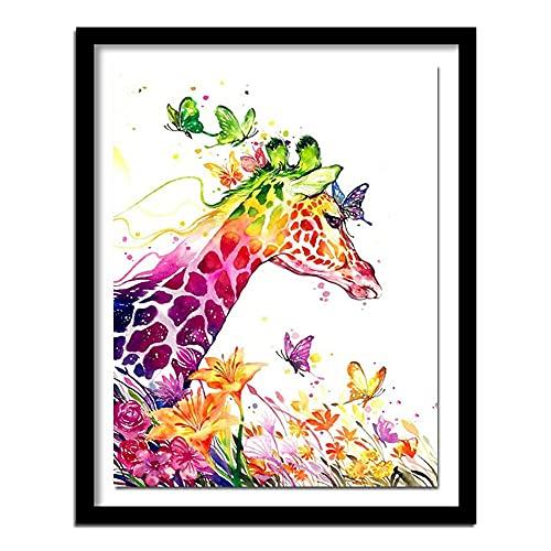 Xevkkf 5D DIY Diamant Stickerei Giraffe Symbole Diamant Malerei Kreuzstich Tiere Bild Runde Strass Diamantmuster 40x50cm