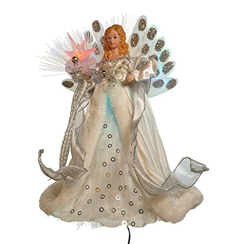 Kurt Adler LED Fiber Optic Angel Figurine, 12-Inch, White and Silver