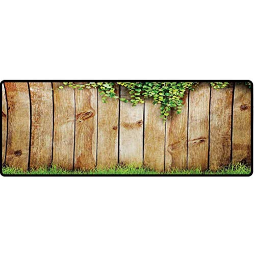 Rustic Kitchen Runner Rug, Fresh Spring Season Grass and Leaf Plant Over Old Wood Fence Garden Field Photo Area Rugs - Green Brown, 24' x 72'
