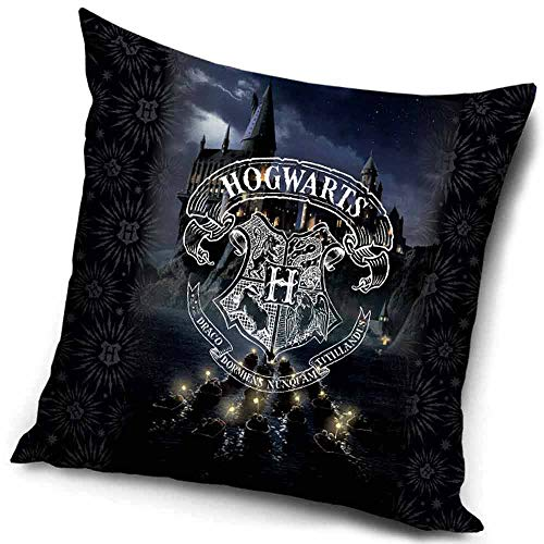 Federa per Cuscino 40 x 40 Harry Potter Nero Logo Bianco Hogwarts Merchandise Ufficiale Warner Bros.