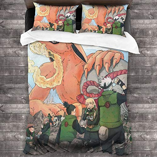 Woworldwo Japan Anime Naruto Kyuubi Kurama Boy And Girl Bedroom Decoration 3-Piece Set, Bed Duvet Cover Large Double Bed, With Zipper Closure Duvet Cover And Two Pillowcases.