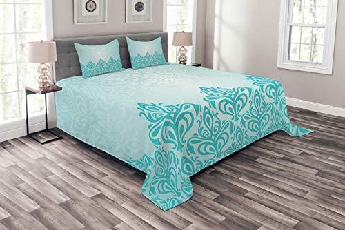 ABAKUHAUS Blau Tagesdecke Set, Europäischer viktorianischer Entwurf, Set mit Kissenbezügen Waschbar, für Doppelbetten 220 x 220 cm, Blau