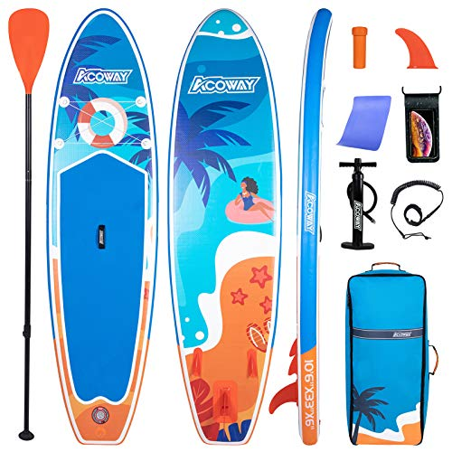 ACOWAY Inflatable Stand Up Paddle Board, 10'6' ×33' × 6' Sup for All Skill Levels Inflatable Paddle Boards, Non-Slip Deck, Double Action Pump, Waterproof Bag for Youth & Adult & Kids
