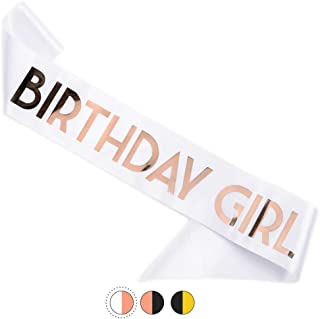 CORRURE 'Birthday Girl' Sash with Rose Gold Foil - Soft Satin White Sash for Women - Happy Birthday Sash for Sweet 16, 18th 21st 25th 30th 40th 50th or Any Other Bday Party