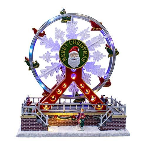tinsel time Escena de Navidad musical LED (carrusel de Navidad con luces LED multicolores, funciona con pilas o red eléctrica, 22 x 22 cm)