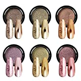 5. Saviland Chrome Nail Powder - Holographic Gold Nail Powder 6 Colors Mirror and Bubble Effect Nail Art Decoration Manicure Pigment Set 1