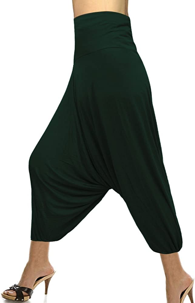 Royal Kraft Fashionable Single Color Elastic Wiast Hosiery Cotton Harem Pant Bottle Green