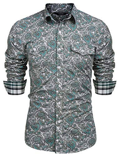 COOFANDY Mens Floral Dress Shirt Slim Fit Casual Paisley Printed Shirt Long Sleeve Button Down Shirts,Green,X-Large