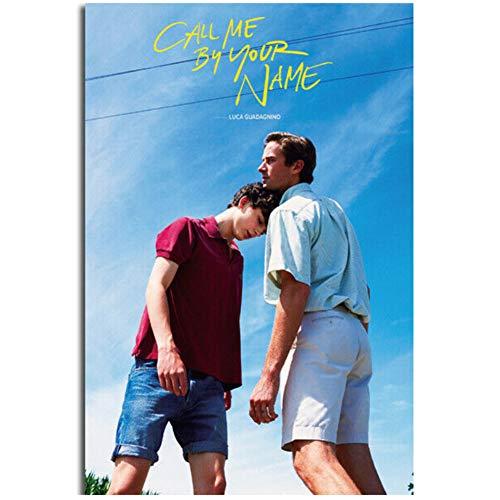 dubdubd Pôster Call Me by Your Name Timothee Chalamet Elio Filme 2 Pintura em tela Decoração de parede para casa - 50 x 76 cm Sem moldura 1 peça