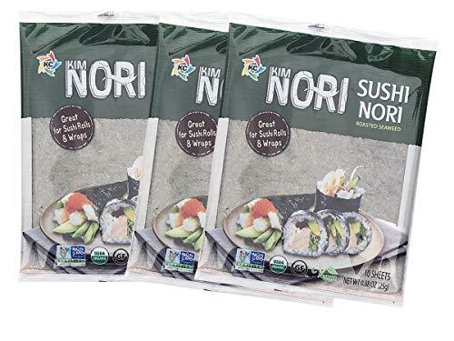 30 Full Size Sheets Full Sheet KIMNORI Sushi Nori Premium Roasted Seaweed Rolls Wraps Snack Laver, USDA ORGANIC, Gluten Free, No MSG, NON-GMO, Vegan 10 Sheet X 3 Pack / 김, のり, 海苔, 紫菜