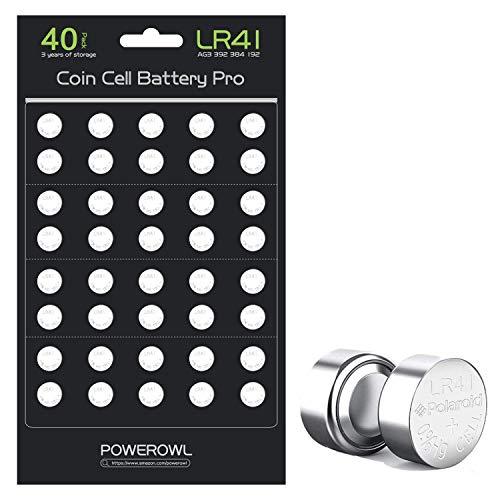 POWEROWL 40個 LR41 ボタン電池 LR41 AG3 L736 392 384 192 電池 1.5V アルカリ電池[バッテリーセルが更新され、より長持ちする]