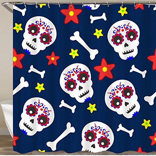 KGSPK Cortinas de Ducha,Dia De Los Muertos Mexican Skull Pattern Floral,Impermeable Cortinas Baño y Lavables Cortinas Bañera 180x180CM