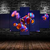 Cuadro En Lienzo Decoracion 5 Piezas HD Imagen Impresiones En Lienzo Pez Payaso Acuario Pez Submarino Lienzo Grandes XXL Murales Pared 5 Paneles De Pinturas De Obras De Arte Moderno