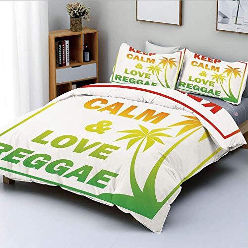 Juego de funda nórdica, Keep Calm and Love Reggae Quote en Ombre Rainbow Colors, temática musical decorativa, juego de cama de 3 piezas con 2 fundas de almohada, verde claro, rojo y amarillo, la mejor