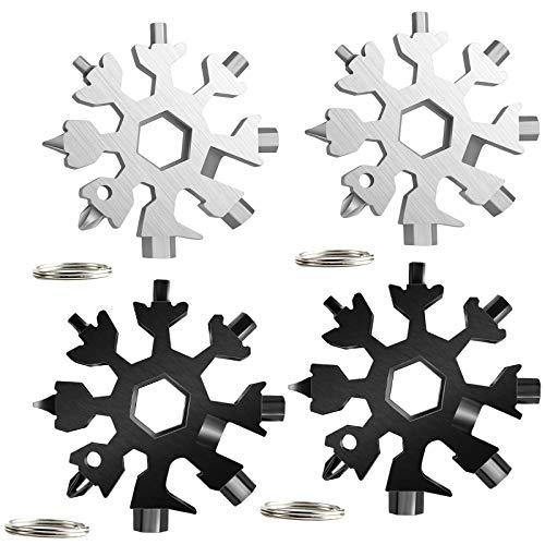 Snowflake Multi Herramienta 18 en 1, 4 piezas Herramienta Multiherramienta de copo de nieve con llavero, destornillador de copo de nieve, llave Allen abridor de botellas(4 piezas)