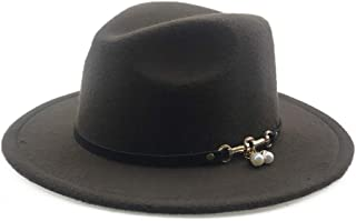 RongAi Chen Women Wool Fedora Hat Pearl Pendant Leather Belt Lady Wide Brim Outblack Panama Hat Top Jazz Hat