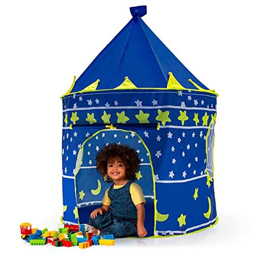 Barraca Infantil Azul Decorado Toca Castelo Princesas Dobrável Portátil para Crianças
