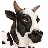 NET TOYS Witzige Kuh-Maske aus Latex - Weiß-Schwarz - Tierische Unisex-Gesichtsmaske Rind Tiermaske...
