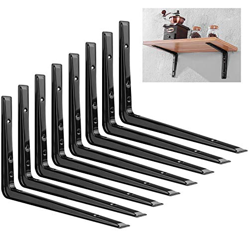 "8 Pack Heavy Duty Shelf Brackets 12.60""x 8.60"" Wall L-Bracket Supports, Metal Wall Corner Angle Shelving Shelf Brackets for Wall Hanging Shelves Decorative Corner Brackets, Black"