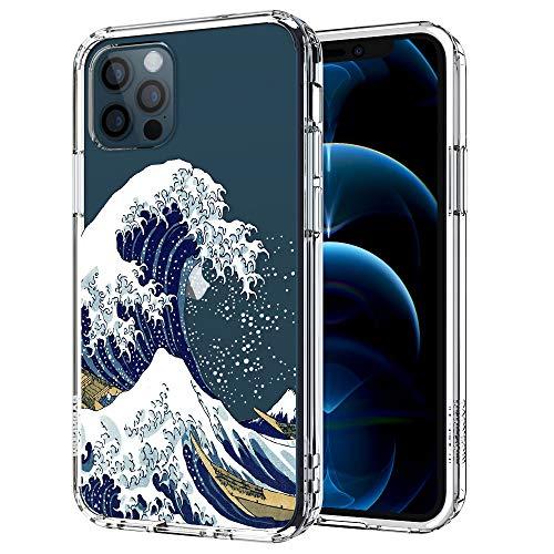 MOSNOVO iPhone 12 Pro Hülle, iPhone 12 Hülle, Tokyo Wave Muster TPU Bumper mit Hart Plastik Hülle Durchsichtig Schutzhülle Transparent für iPhone 12 Pro/iPhone 12 6.1 Zoll
