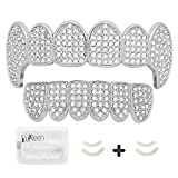 LuReen Silver Teeth Grillz Pave CZ Vampire Fangs Grillz for You Teeth with 4 Silicon Molding Bars(2 Extra)