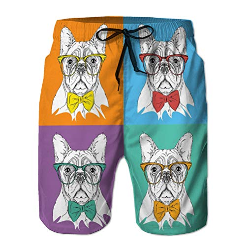 Mens Summer Swim Trunk Image Portrait Dog Cravat Glasses Pop Art Style Geometric