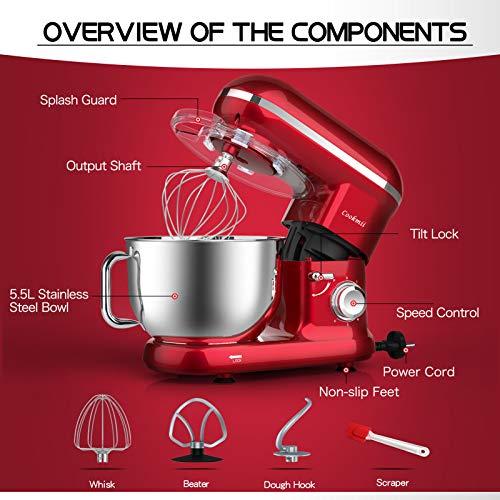 Cookmii Küchenmaschine 1090 Watt Knetmaschine Rührmaschine Teigmaschine Rührgerät, 5,5 Liter-Rührschüssel, 6-stufige Geschwindigkeit Rot - 7