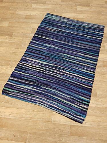 Kottig Fleckerlteppich Handweb Fleckerl Teppich Salzburg 120x180 blau 100% Baumwolle ohne Fransen