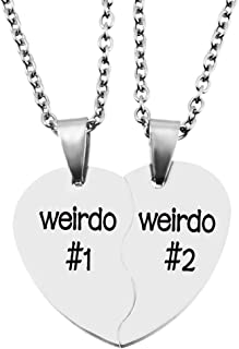 Loozykit Best Friends Necklace BFF Teen Girls Gifts Silver Heart Broken Friendship Necklace Set Charm Partners in Crime Necklace for 2(Free Box) (Weirdo 1 2)