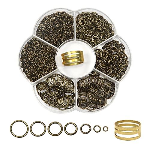 TOAOB 1500 Piezas 4 mm 5 mm 6 mm 8 mm 10 mm Mixto Tamaño Bronce Antiguo Anillos de Salto Abiertos de Metal para Fabricación de Joyas Pulseras y Collares