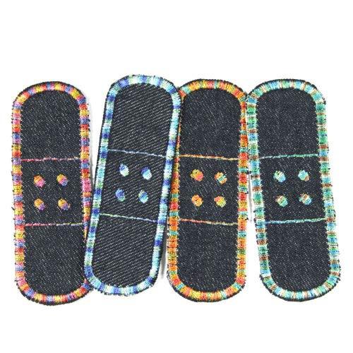 Flicken zum aufbügeln Pflaster Bügelflicken Jeans klein 4 Aufbügler blau bunte Verlaufsfarben 3 x 8,3cm