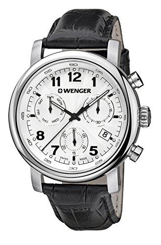 Wenger Herren Chronograph Quarz Uhr mit Leder Armband 01.1043.109