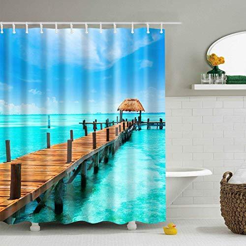 X-Labor Bunt Baum Duschvorhang 240x200cm Anti-Schimmel Wasserdicht Polyester Textil Stoff Badewannevorhang Shower Curtain 240 * 200cm Meer