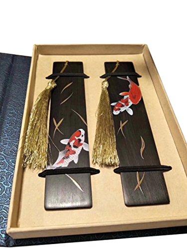 Lesezeichen - HöLzerne Handgefertigten Farbigen Zeichnung NatüRlichen Holz - Lesezeichen FüR Panda - Set Von 2 Lesezeichen (EinschließLich Box) (Black-Koi)