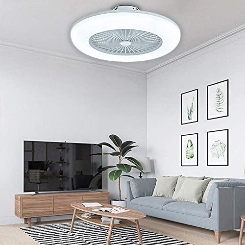 MAMINGBO Ventilador de techo para el hogar con ventilador de techo ligero, luz de techo, control remoto led 3 colores Modos de iluminación, hojas de acrílico invisibles de acrílico de metal Semi Flush