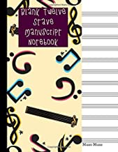 Blank Twelve Stave Manuscript Notebook: For Musicians