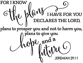 JS Artworks For I know the plans I have for you declares the Lord. Vinyl Wall Art Decal Sticker