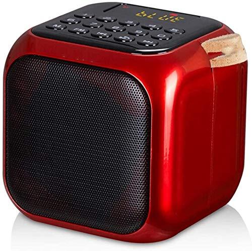 Mopoq Drahtloser Bluetooth-Lautsprecher - Tragbare Outdoor Radfahren Kleine Audio-Karte/U Disk Subwoofer EIN-Knopf-Digital-Song-Auswahl / 83 X83X83MM Lautsprecher (Color : Rot)