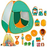 deAO Pretend Play Camp Set Survival Kit with Large Tent and 18 Camping