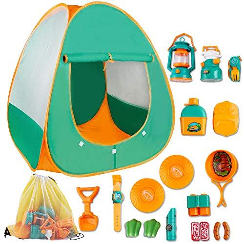 deAO Gioco di Sopravvivenza Campeggio per Bambini Set d\'Imitazione Include Tenda da Campeggio Pop-Up, Lanterna, Fornelli da Campeggio e Accessori attività Ricreative al Coperto e all\'Aperto