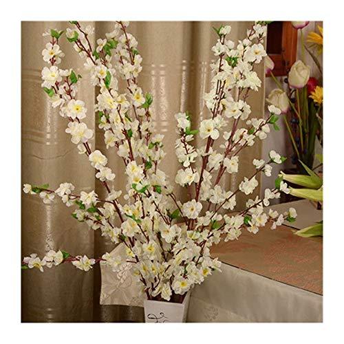 JINGGEGE Silk Blumen-künstliche Kirsche Frühling Plum Peach Blossom Branch Heim Hochzeit dekorative Blumen Kunststoff Peach Bouquet DIY (Color : White)